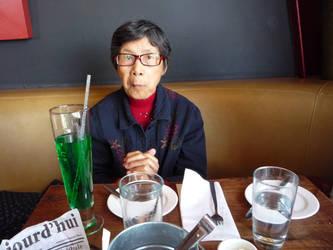 My grandma eating French food