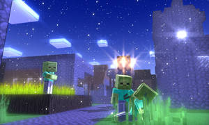 MMD Minecraft Stage 2 night DL