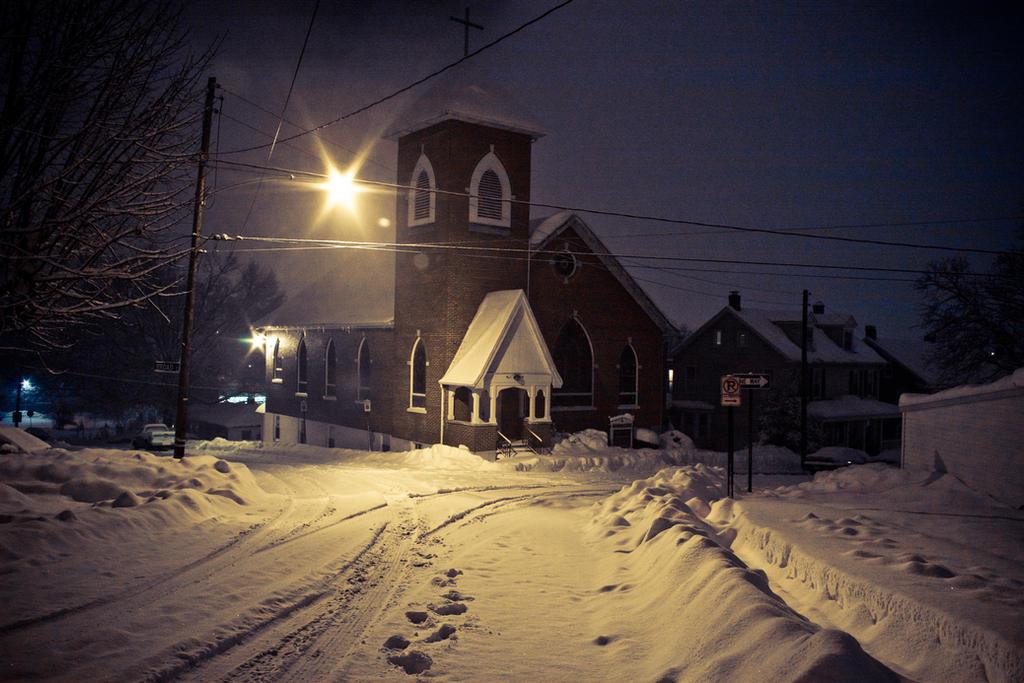 Snow Covered Steeple by Ryan-Warner