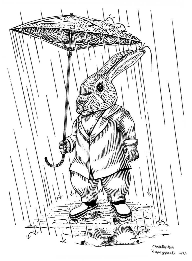 Mr. Rabbits Rainy Day by LuigiPunch