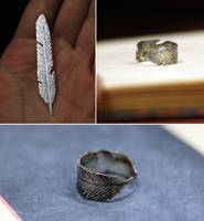 Silver Feather Ring by Dygee