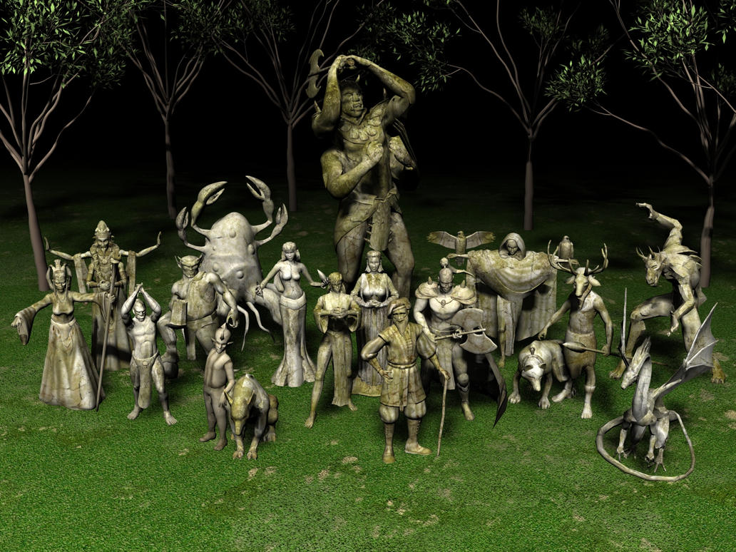 Daedric Statues by ShaqueNova on DeviantArt