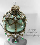 Chainmaille Christmas ornament Green Glass Ball