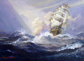Sailing Ship in distant sea 2
