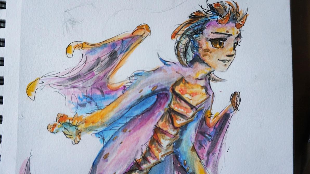 [doodle] watercolor dragon kid by CapnNero