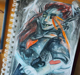 Undyne Watercolor by CapnNero