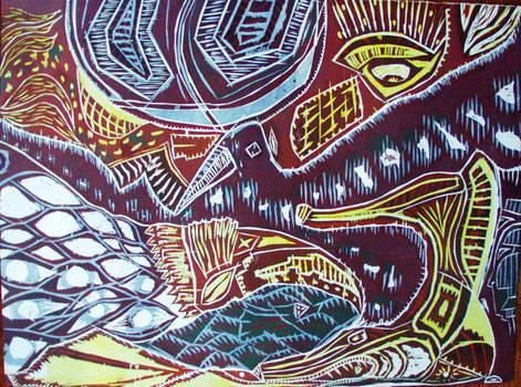Comingled 2 (woodcut)