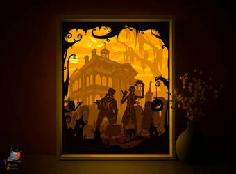 Halloween Lightbox template 3D papercut shadowbox