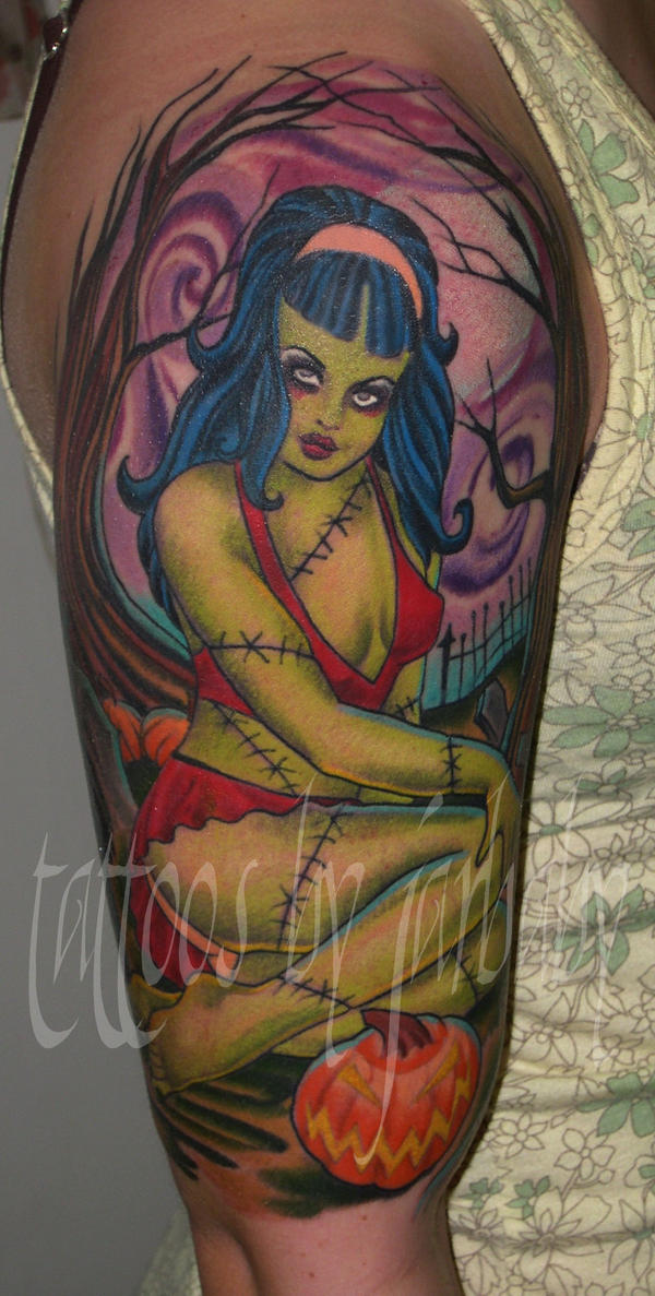 zombie girl tattoo. zombie girl