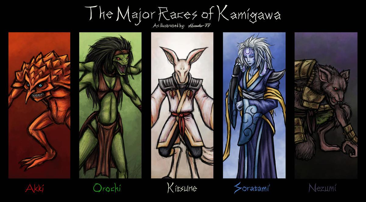 The Major Races of Kamigawa by Dark-Emissary