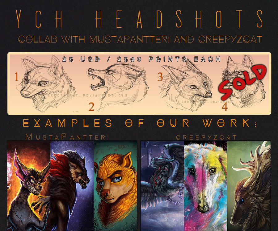 [UPDATED] COLLAB YCH HEADSHOTS OPEN! by MustaPantteri