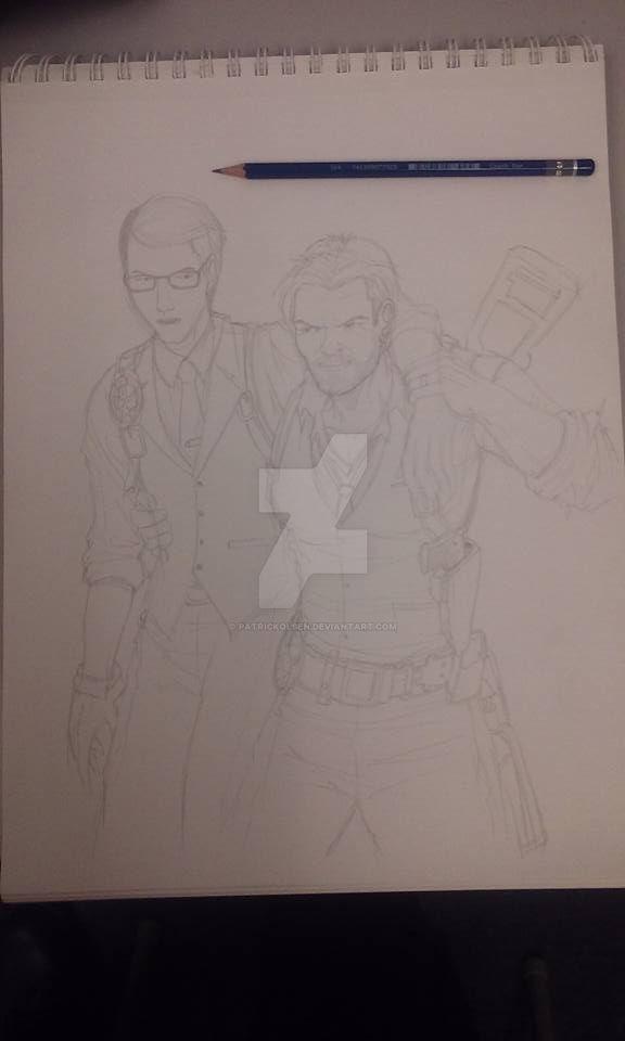 Evil Within Joseph And Sebastian_pencil sketch by PatrickOlsen