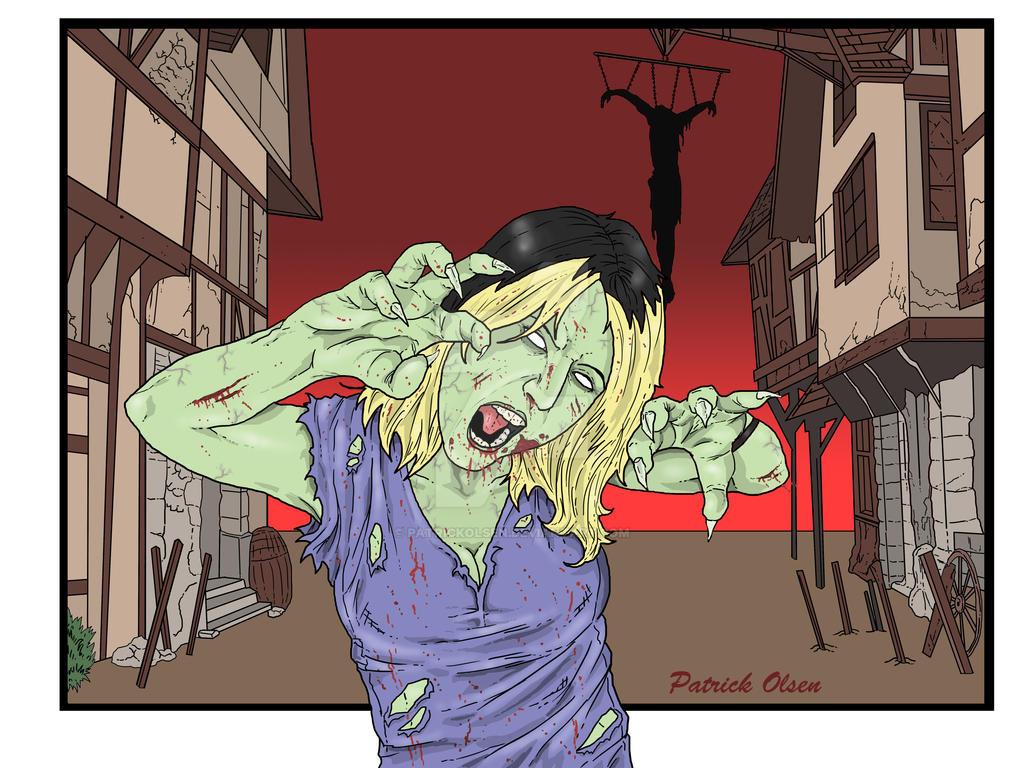 Rachael As A Zombie Color Bg by PatrickOlsen