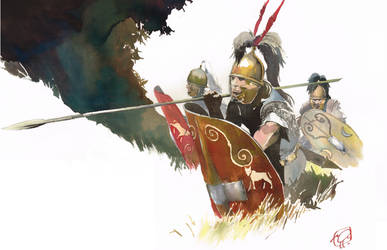 Romans soldiers into the forest by VincentPompetti
