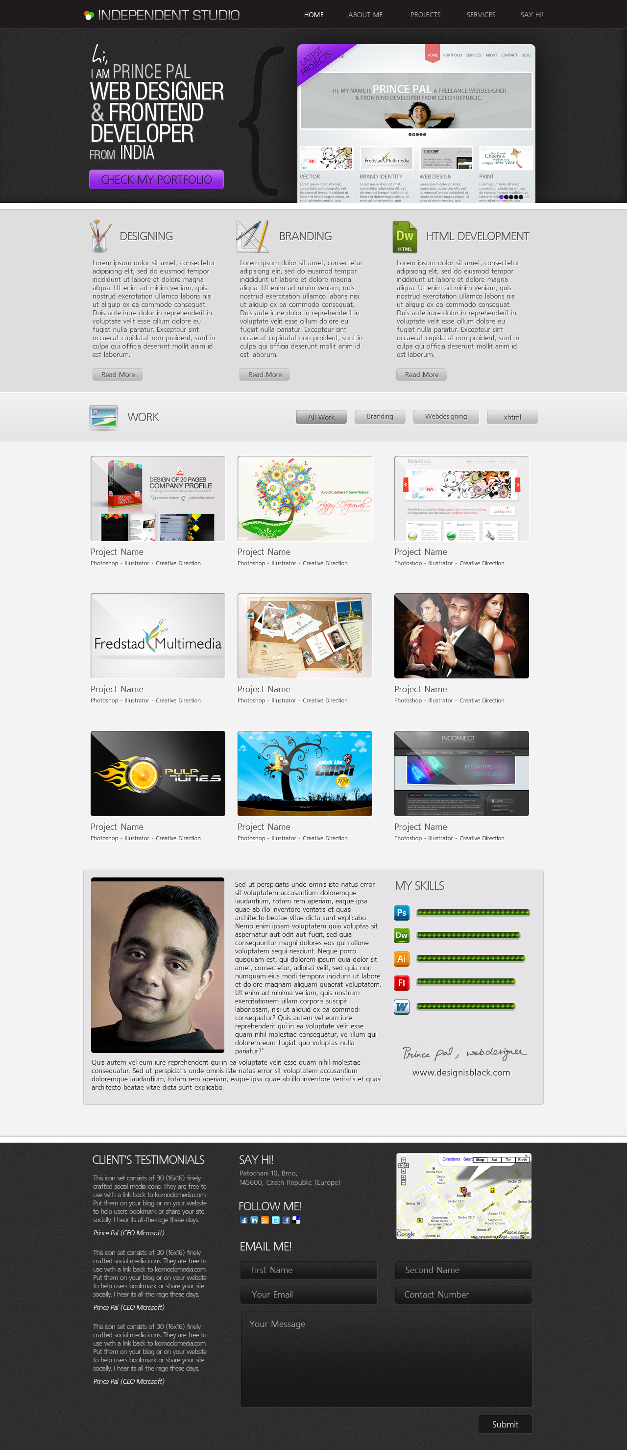 One Page Portfolio Template by princepal on DeviantArt