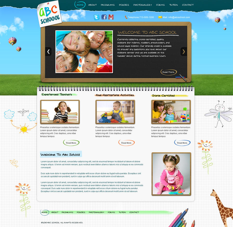 kids school wordpress template by princepal d3fkff1 Web Design Interface Collection of Inspiration