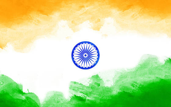 WaterColor Indian Flag Wallpaper By Prince Pal