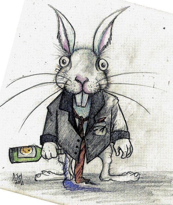 white rabbit, green bottle by boegeob