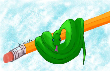 A smol snake on a pencil by Smilecentaur