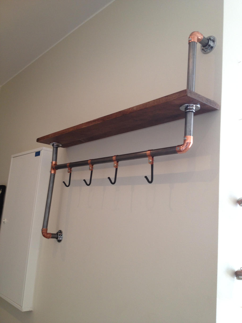 Steampunk shelf / cloth hanger thingemajigger
