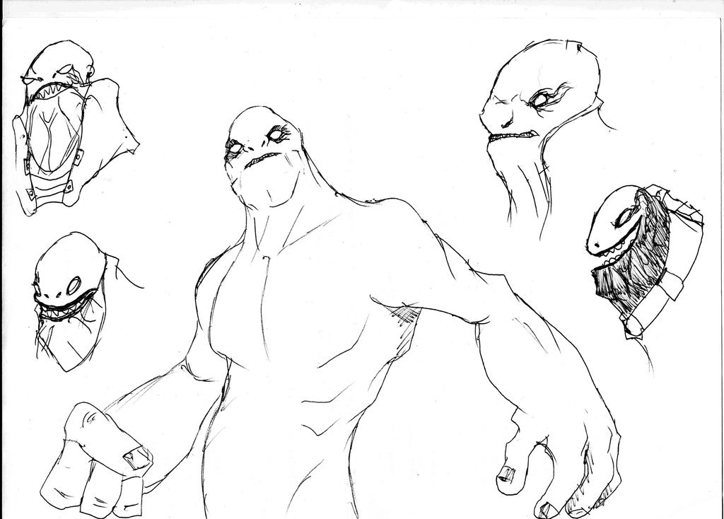 Sketch - Alien's faces by Sicner