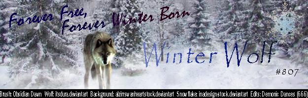Winter Wolf Siggy by DemonicDances