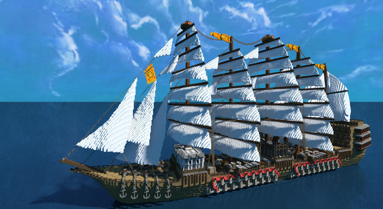 Minecraft Giant Ship By Skysworld On Deviantart