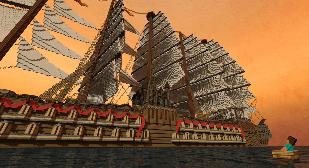 how to build a giant boat in minecraft