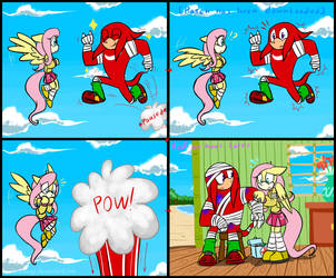 Knuckles and Fluttershy: Rip infinite jump glitch by HoshiNoUsagi