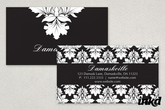 Elegant Damask Business Card by inkddesign