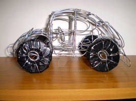 Vw Beetle Wire Sculpture Finished Side View