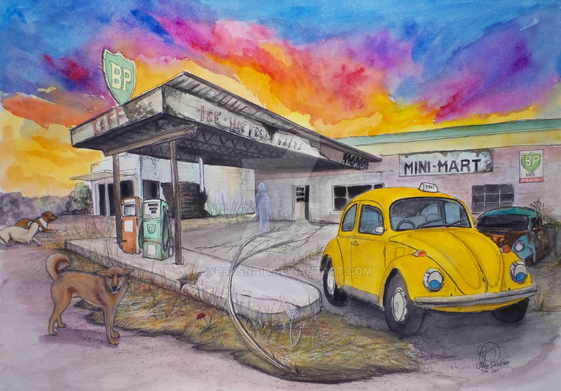 Taxi and Abandoned Garage II by gypsysnail