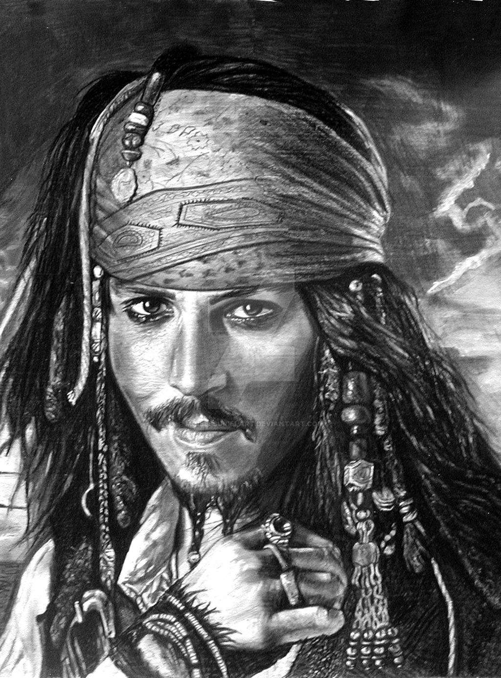 pirate pencil drawing bw
