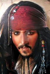 Capt Jack Sparrow oil paint close-up savvy