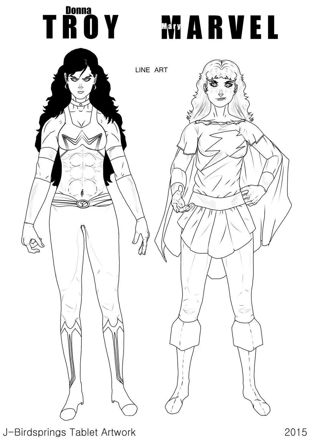 Unity Line Art Map : Era of unity donna troy and mary marvel line art by j