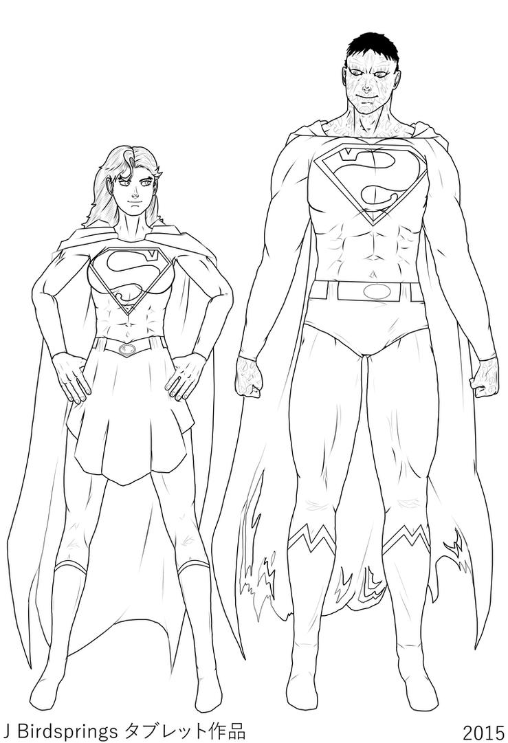 Supergirl-Beauty and the Beast-LINE ART by J-BIRDSPRINGS
