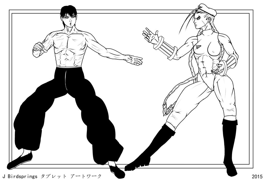 Street Fighter World Class-White VS Long-LINE ART by J-BIRDSPRINGS