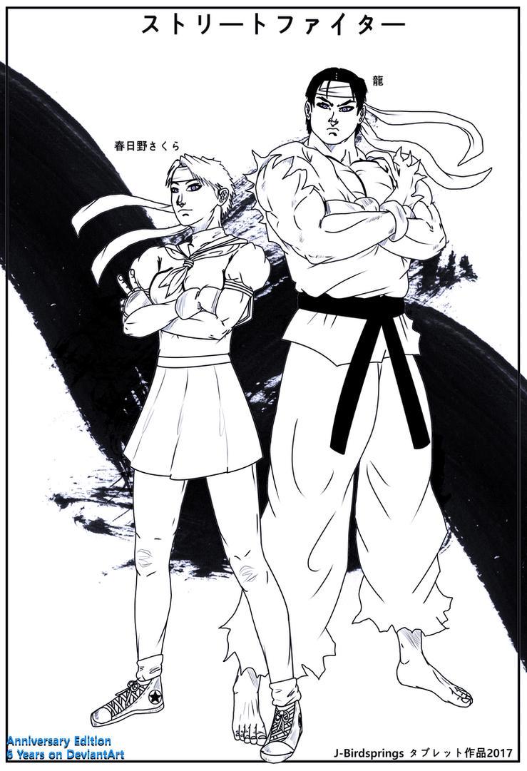Anniversary Artwork-Street Fighter-Ryu X Sakura by J-BIRDSPRINGS