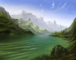 Mountainous fjord landscape by Techdrakonic