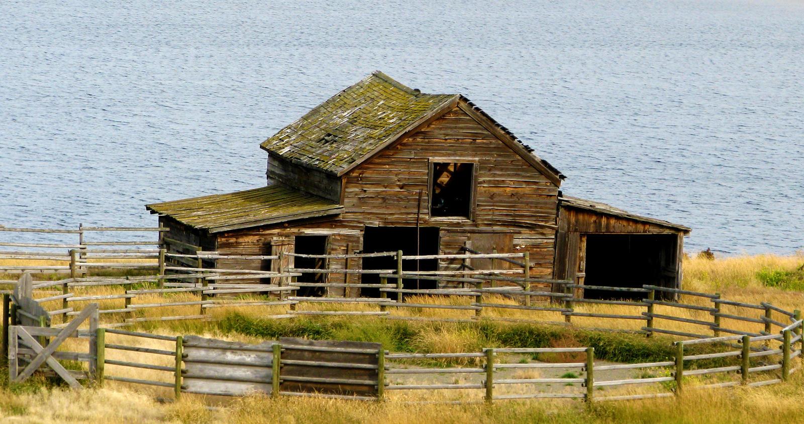 Barn with Lake Behind