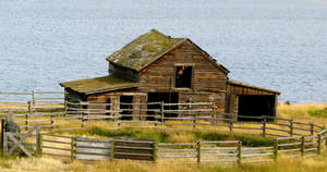 Barn with Lake Behind by Techdrakonic