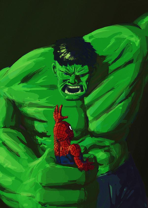 Hulk vs. Spiderman by BlattWerk on DeviantArt