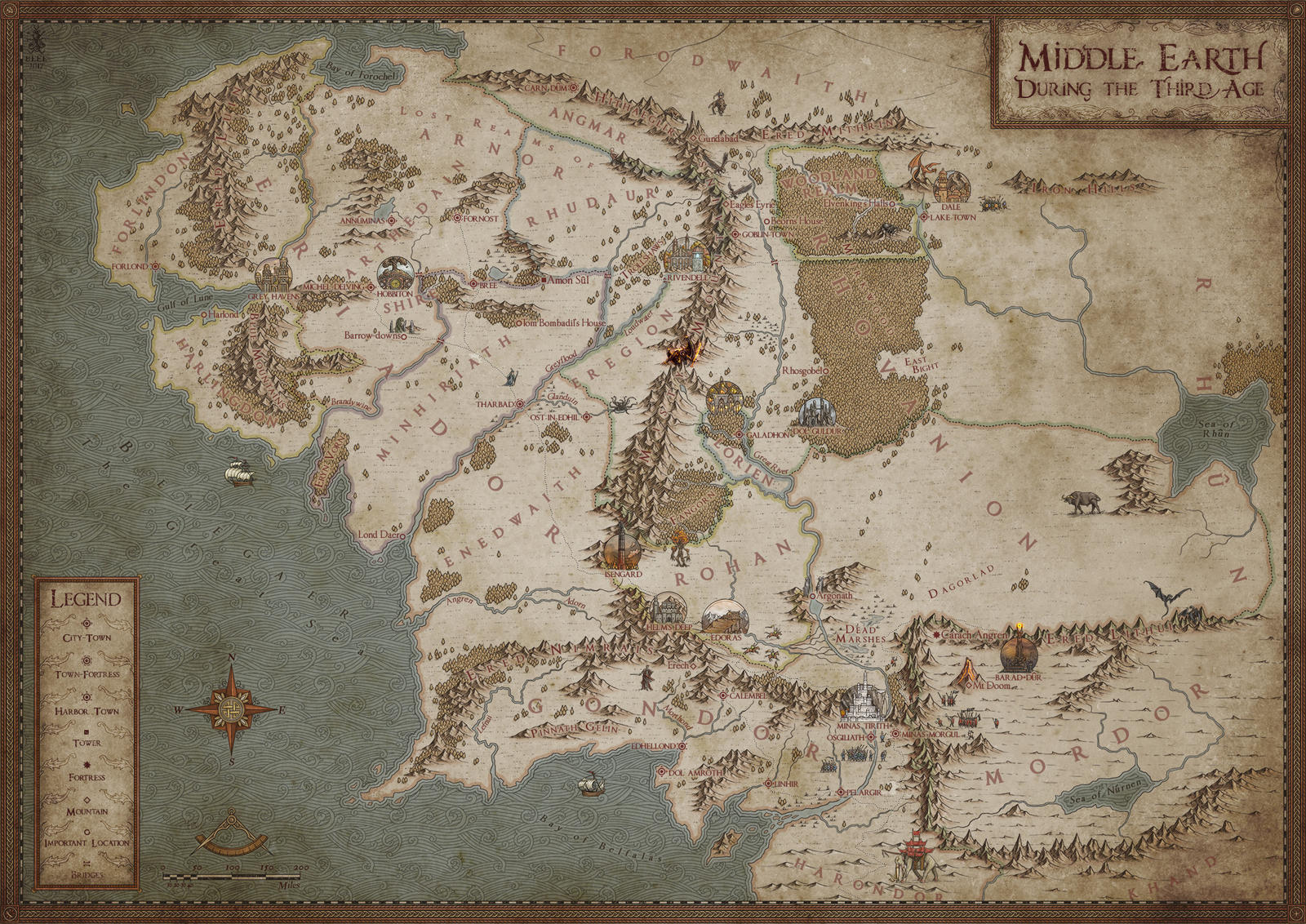 Middle Earth Map High Resolution Map of the Middle Earth by MistyBeee on DeviantArt