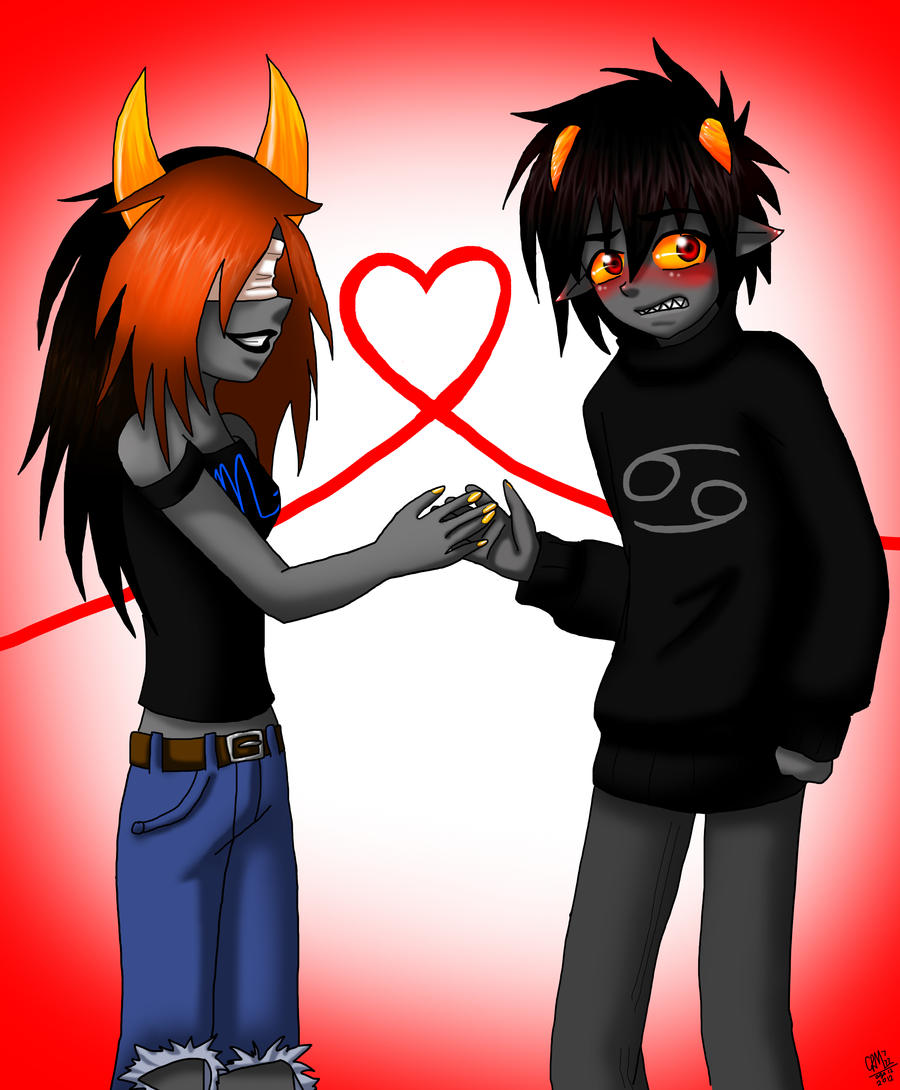 saffyee and karkat meet fir the fist time (OC) by Gresta-GraceM