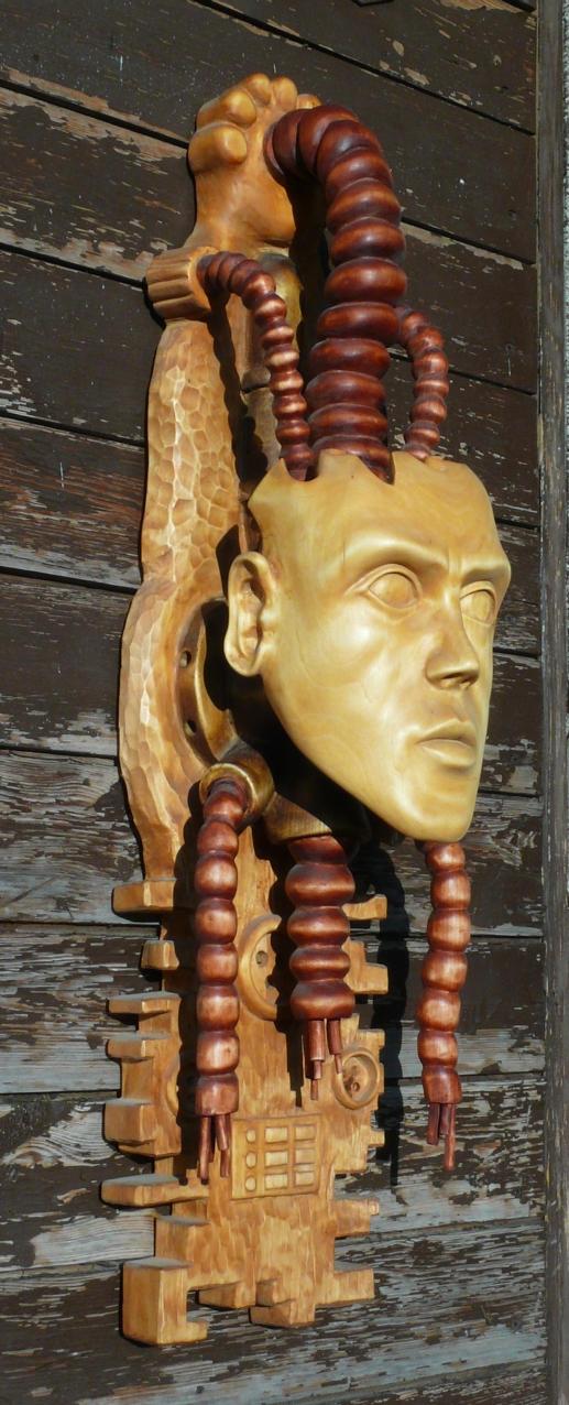 Prisoner of technology - woodsculpture