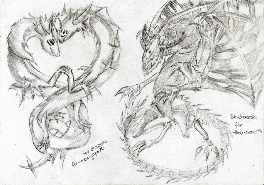 Free Dragon Sketches 01 by LightEndDragon