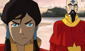 Korra and Tenzin by xAmeChanx