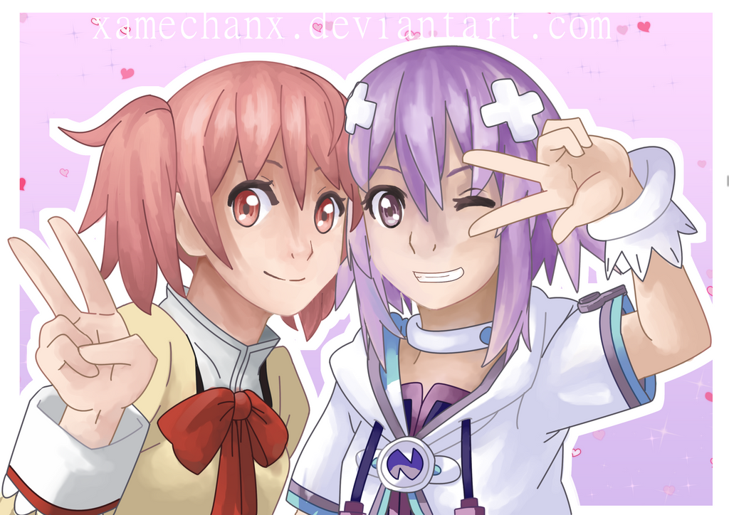 Commission : Madoka and Neptune by xAmeChanx