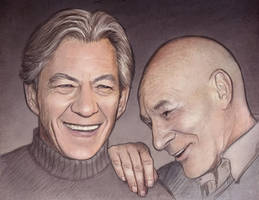 Ian McKellen and Patrick Stewart by maichan-art