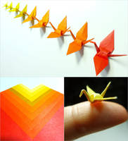 Micro Origami Cranes - Autumn Color Study by maichan-art